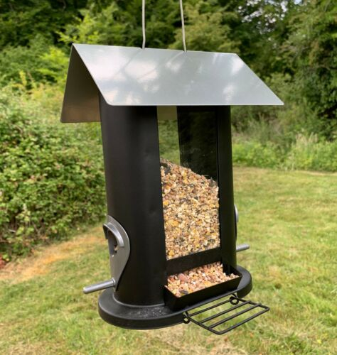 Oval Shaped Hanging Bird Seed Feeder with 4 Feeding Ports for Garden Birds