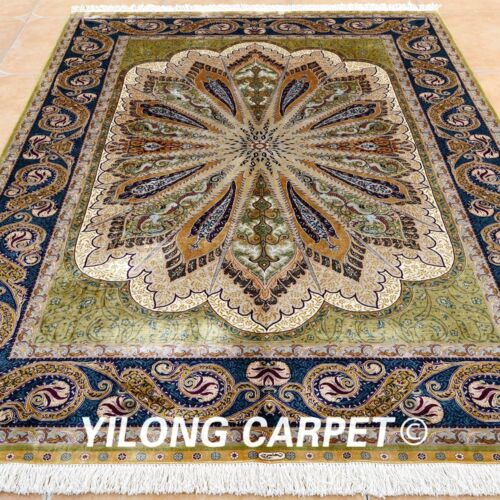 Yilong 5.5'x8' Classic Silk Rugs Art Hand Knotted Carpets Peacock Hand Made 0237