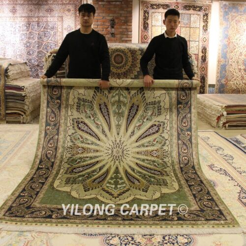 Yilong 6'x9' Peacock Green Silk Rugs Hand Knotted Carpets Handmade Discount 0734