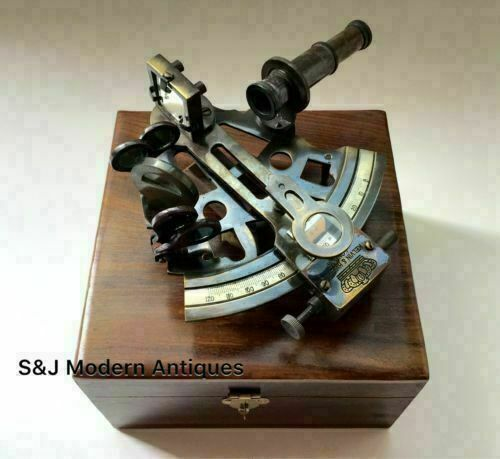 Nautical Brass Marine Antique Sextant Maritime with wooden box Vintage Gift