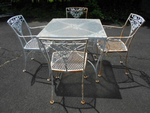 """(5)pc.""""WOODARD Orleans""""  acorn & vine Wrought iron Table & 4 Chairs/PICKUP 08534"""