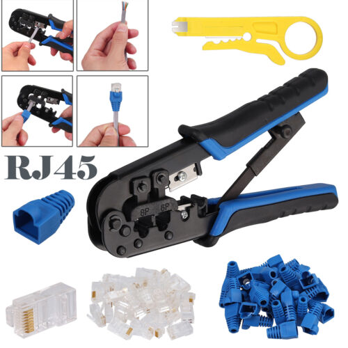 RJ45 Crimp Tool RJ11 Cat5 Modular Data Plug+30x Covers+ Nylon cable tie Stripper