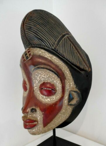 OLD AFRICAN PUNU GABON TRIBAL CARVED & PAINTED WOODEN MASK