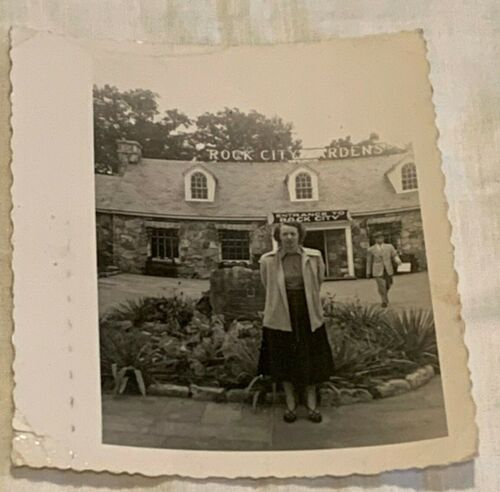 Rock City Gardens Lookout Mountain TN Woman 1930 s Photo Photograph Black White