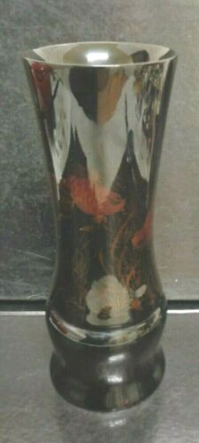 Antique Japanese Tall High Gloss Wood Lacquer Koi Gold Fish Vase 1925 - 1940