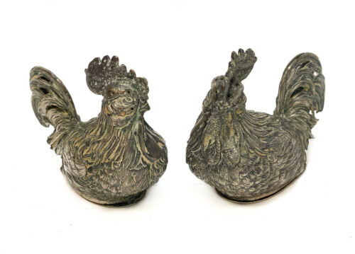 Pair Continental French Import Silver Novelty Rooster Salt and Pepper Shakers