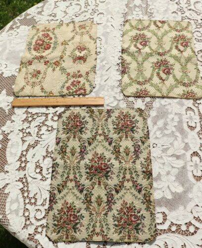 3 French Antique c1930-1940 Floral Cotton Jacquard Fabric Samples