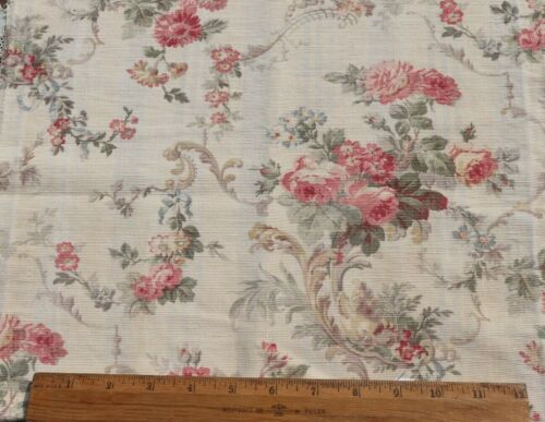 """French Antique c1880 Roses & Scrolls Cotton Home Dec Fabric~L-27""""X W-15"""""""