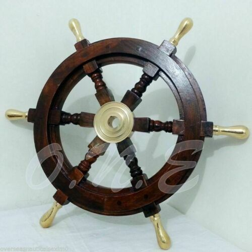 """18""""inch Collectible Maritime Nautical Wooden Ship Wheel Boat Steering Wall Decor"""