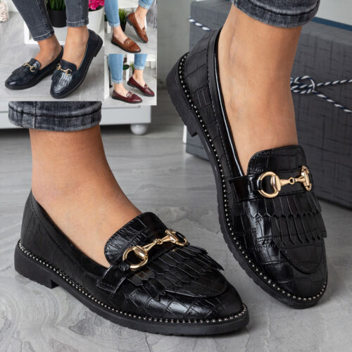 Womens Loafers Ladies Pumps Boat Slip On Flats Work Tassle School Comfy Shoes