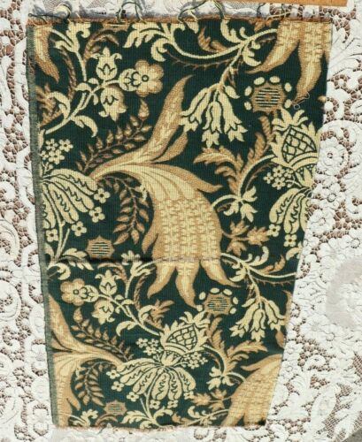 """Dramatic 19thC French Woven Jacquard Cotton Tapestry Sample Fabric~~28.5""""X16"""""""