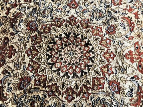 Vintage Silk Chinese rug tightly woven, birds, animals, flowers hand made