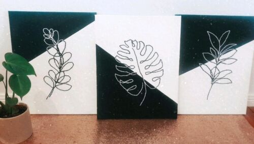 Hand embroidered Canvas set of 3.