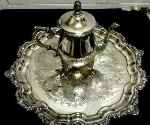 Vintage LG. Silver Plated Tray & Teapot Engraved  VINERS A1 Quality Silver Ware