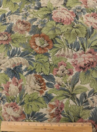 """Antique French c1870 Lush Floral Cotton Jacquard Tapestry Fabric~L-33"""" X W-18"""""""