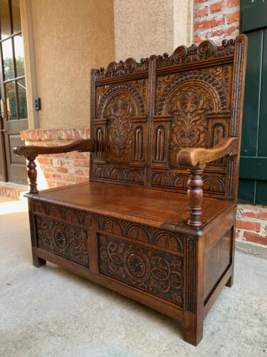 Antique English Carved Oak Hall Bench Trunk Chest Settle Pew Petite Banquette