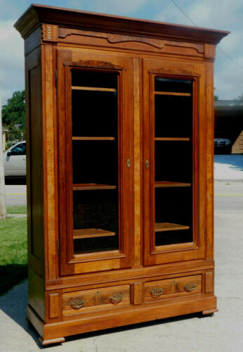 Walnut Victorian Display~China~Linen~Bookcase Cabinet
