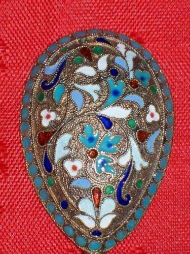 RARE MONOGRAM RUSSIA SPOON CLOISONNE ENAMEL SILVER 84 RUSSIAN IMPERIAL ANTIQUES