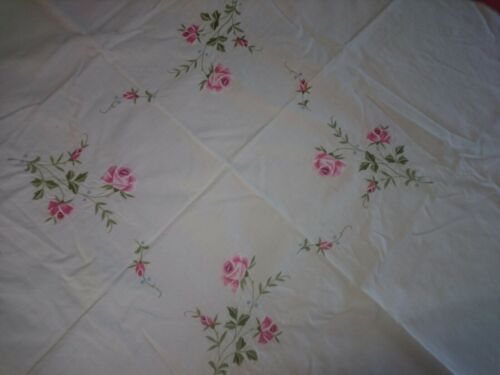 Vintage Embroidered Pink Rose Cotton Square Tablecloth Good Condition