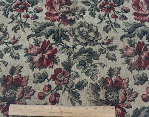 """Antique French 19thC Cotton Floral Tapestry Fabric~L-31""""X W-24"""""""