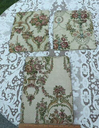 3 French Antique c1900-1920 Jacquard Tapestry Fabric Samples~Baskets & Bows