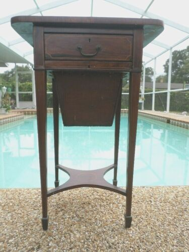 Antique English ~ inlaid Sewing Table ~ 19th Century