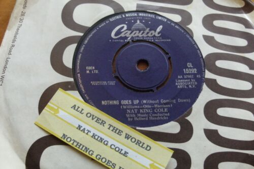 """NAT KING COLE 1963 ALL OVER THE WORLD  45 rpm SINGLE 7"""" VINYL  RECORD JUKEBOX"""