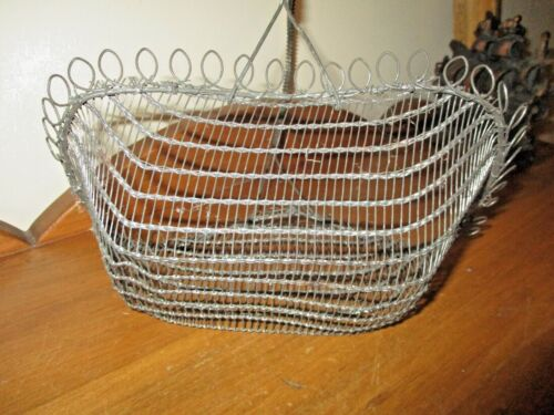 EARLY PRIMITIVE ANTIQUE TWISTED LOOPED WIRE HANDLE BASKET