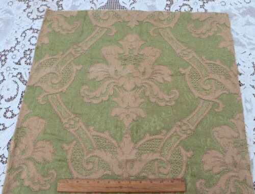 """Antique French c1900 Green Silk & Cotton Jacquard Tapestry Fabric~L-39"""" X W-25"""""""
