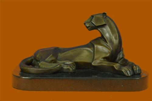 Handcrafted Henry Moore Mountain Lion Bronze Sculpture Marble Base Figurine sale