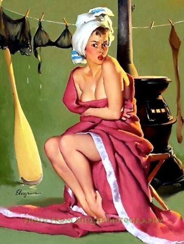 """Nude Woman in Blanket After Getting Wet 8.5x11"""" Photo Print Gil Elvgren Pinup"""