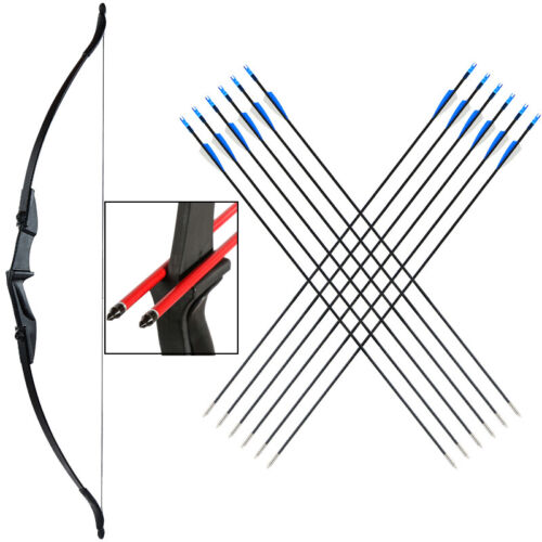 """40lb Archery 56/"""" Takedown Recurve Bow Set 12x Arrow Right Hand Adult Hunting"""