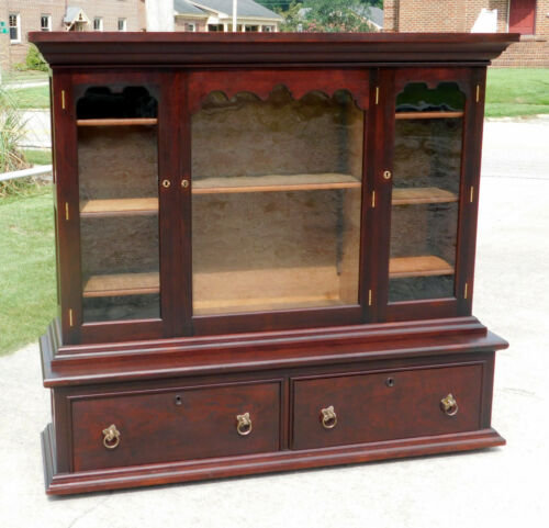 Walnut Bench Made Bookcase Display Cabinet w/2 Drawers circa 1900