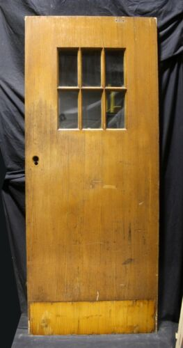 "33""x79""x1.75"" Antique Vintage Old Oak Wood Wooden Door 6 Window Glass Lite Pane"