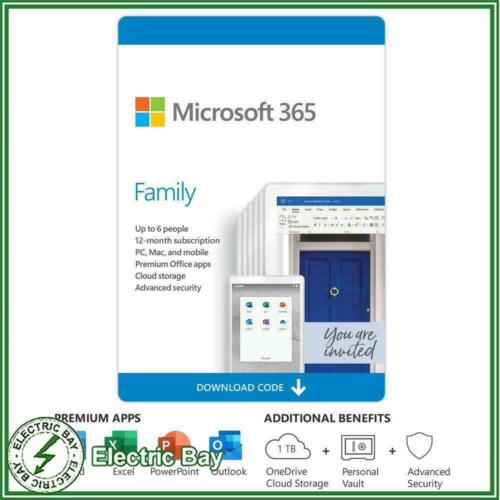 Microsoft 365 Family (Office Home Mac/Win) 1 Year Subscription 6GQ-01143 6 users