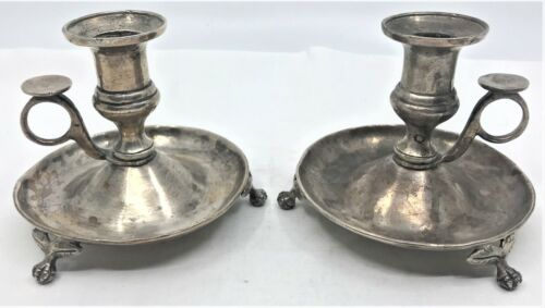 Early Pair Colonial Era Sterling Silver Hand Hammer Candle Sticks Holders heavy