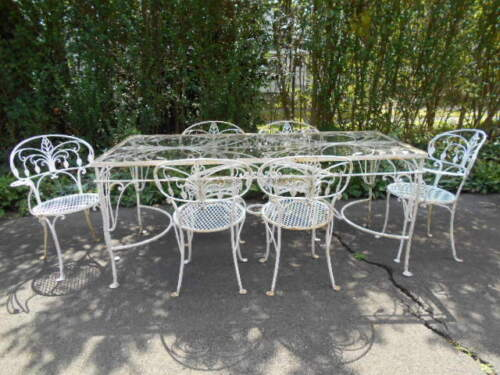 RARE 7pc.SALTERINI Wrought Iron Rectangular Glasstop Table w/6 Matched Chairs