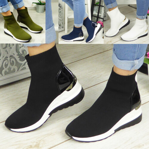 Ladies Wedge Trainers Womens Sneakers Ankle Sock Comfy Pull On Pumps Shoes Boots