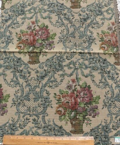 """Antique c1900 Floral Baskets & Ribbons Cotton Jacquard Tapestry Fabric~25""""X19"""""""
