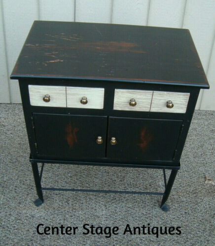 60679 QUALITY Wood Storage Cabinet Chest Nightstand Table  on Iron Stand
