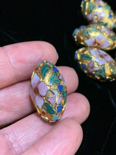 ONE Large Vintage Chinese Enamel Cloisonné Gold Bead Flowers Oval 24mm x 15mm