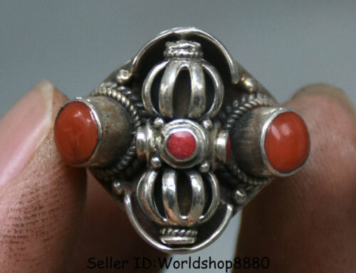 "1.2"" Tibet Tibetan Silver Inlay red coral vajra Faqi Ring Rings Woman jewelry"