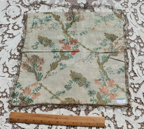"""Antique 18thC French Silk Floral Brocaded Mat~14"""" Square~Dolls,Design"""