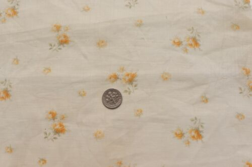 """Antique French 19thC Tiny Yellow Rose Lawn Fabric~L-16"""" X W-12"""""""