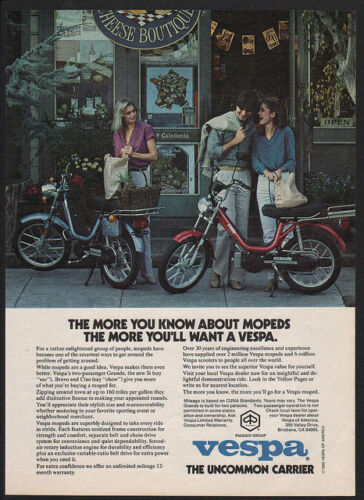 1980 VESPA Moped - Scooter - Motorcycle -  Pretty Women -  VINTAGE ADVERTISEMENT