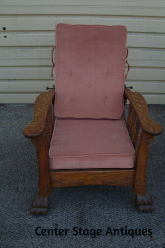 61060 Antique Oak Adjustable Back  Morris Chair With Claw Foot