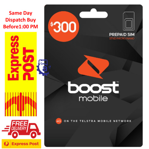 Boost Mobile $300 Prepaid SIM Starter Kit  240GB DATA 365 Days Express Shipping