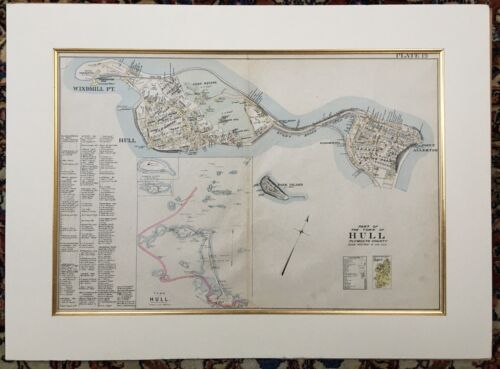 Original 1903 Hull Map,Allerton Hill,Windmill Point,Fort Revere,Ma,Mass,Old