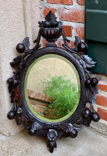 Antique English Carved Dark Oak Oval Wall Mirror Black Forest Style Victorian
