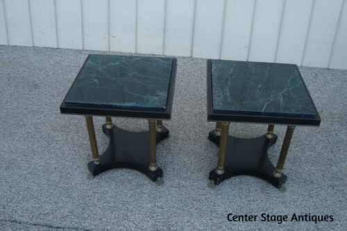 60919 Pair Metal and Marble Lamp Table Stands